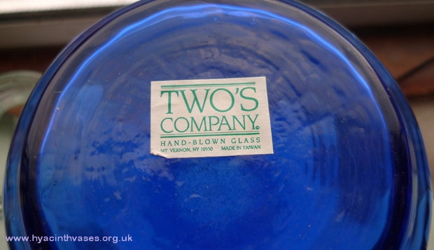 Twos Company hyacinth vase label