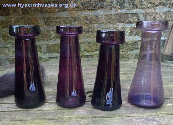 antique tall amethyst hyacinth vases