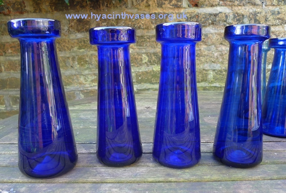 antique tall blue hyacinth vases