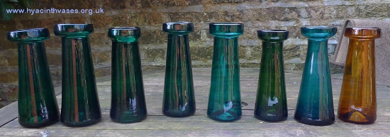 antique tall green hyacinth vases