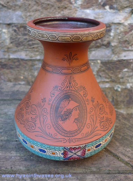 terracotta hyacinth vase with classical figure transfers